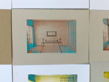 """Screen print room as base and """"moved"""" furniture drawn with pen. As an apartments in blocks, space is the same, but people living in them are with different experiences and seeking for something else. A5 sizeAs an apartments in blocks, space is the same, but people living in them are with different experiences and seeking for something else."""