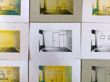 """Screen print room as base and """"moved"""" furniture drawn with pen. As an apartments in blocks, space is the same, but people living in them are with different experiences and seeking for something else. A5 size"""