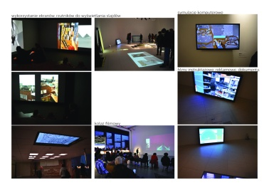 Use of screens, projectors, movie collage, computer simulations, commercial and documentary movies