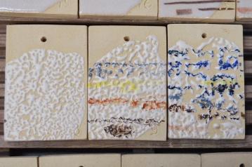"3. Próbki / probes ""8,9,10"" – 1200-1220°C White bright glaze Skaleń/ Feldspar 37 Kreda/ Whiting 12 Tlenek cynku/ Zinc Oxide 18 Kaolin/ China Clay 26 Kwarc/ Flint 7"