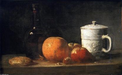 Jean-baptiste-simeon-Chardin-Still-Life-with-Tin-Glazed-Jar-Fruit-and-Bottle